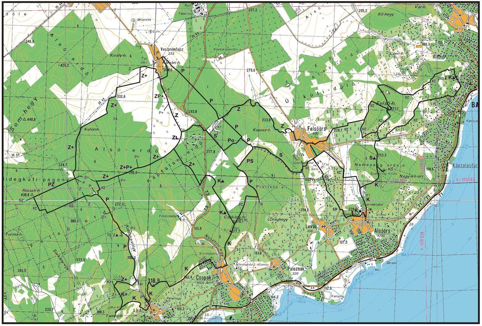 A Felsőörsi nyolcas 2011. évi összes résztávjának útvonalai